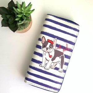 French Bulldog Blue Wallet Women's Long Zippered